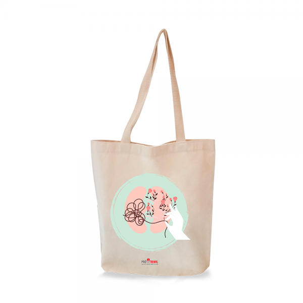 sacola retornável ecológica ecobag com estampa rim e flores e logo pró-renal