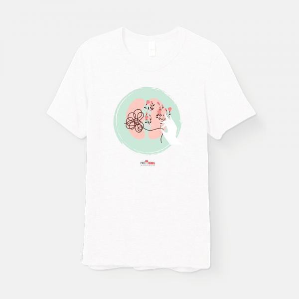camiseta branca com estampa rim e flores e logo pró-renal