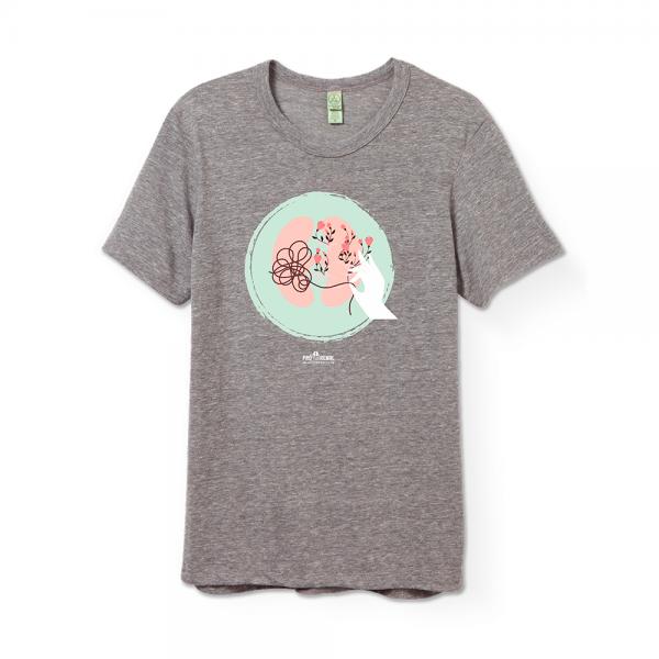 camiseta cinza com estampa rim e flores e logo pró-renal