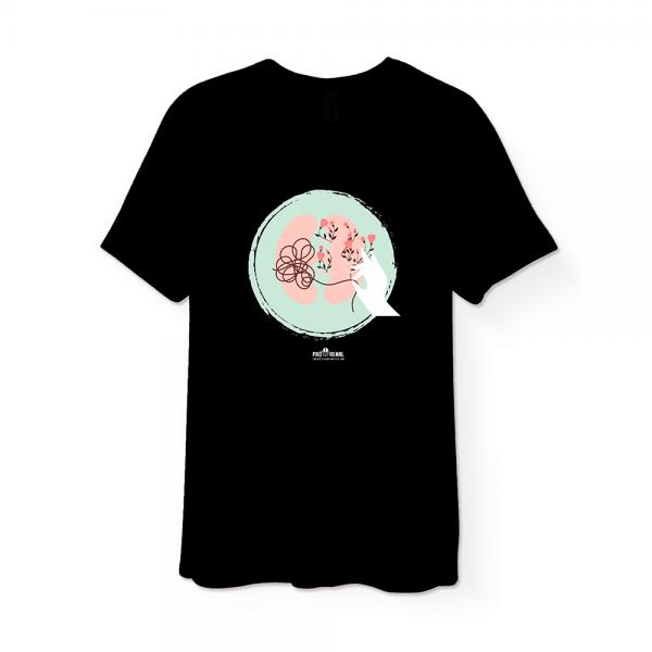 camiseta preta com estampa rim e flores e logo pró-renal