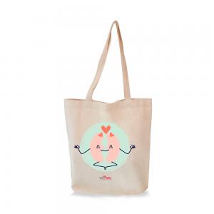 sacola retornável ecológica ecobag com estampa rim meditando e logo pró-renal