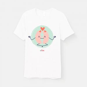 camiseta branca com estampa rim meditando e logo pró-renal
